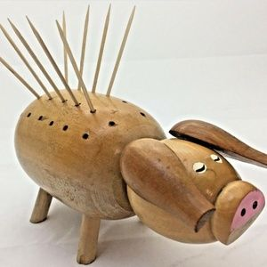 "Vintage Wood Pig Toothpick Holder 6.5 ""x 3.5"" x3"""
